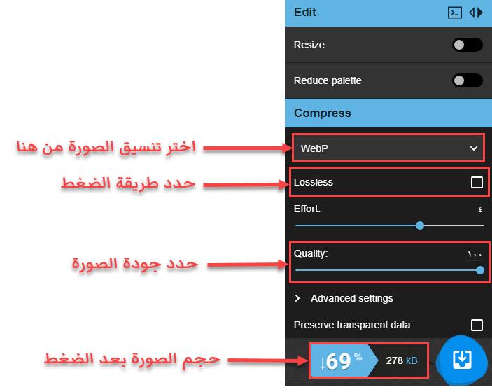 الخيارات المهمة في قسم تحديد خيارات ضغط الصورة
