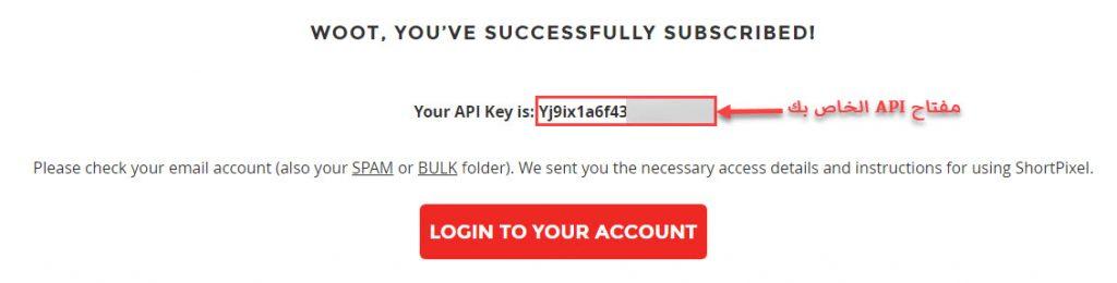 صفحة تؤكد نجاح عملية التسجيل وتُظهر مفتاح الـ API
