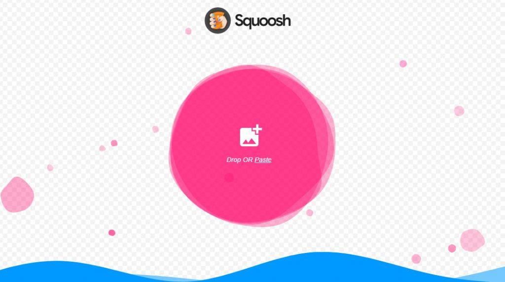 صورة تظهر صفحة squoosh.app الرئيسية التي يمكن رفع صورة من خلالها