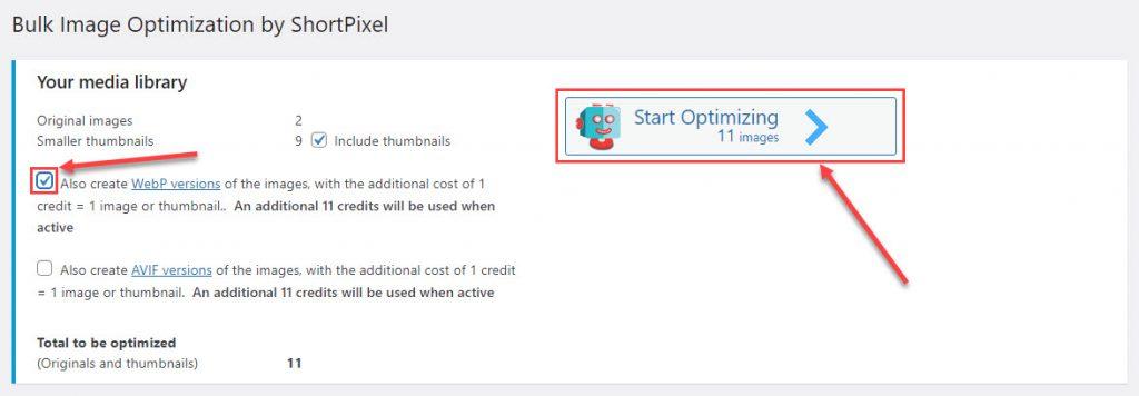 كيفية بدء عملية تحسين وتحويل الصور التي تم رفعها إلى الموقع قبل تنصيب ShortPixel